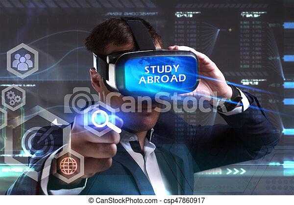 voit, réseau, fonctionnement, inscription:, concept., jeune, virtuel, business, homme affaires, internet, étude, technologie, réalité, à l'étranger, lunettes - csp47860917