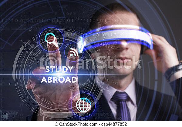 voit, réseau, fonctionnement, inscription:, concept., jeune, virtuel, business, homme affaires, internet, étude, technologie, réalité, à l'étranger, lunettes - csp44877852