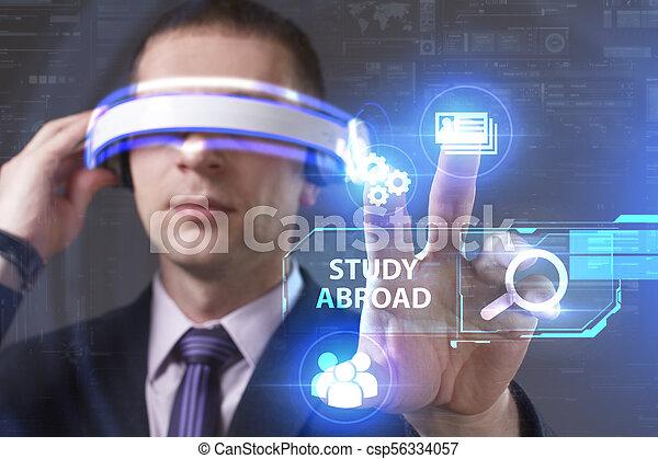voit, réseau, fonctionnement, inscription:, concept., jeune, virtuel, business, homme affaires, internet, étude, technologie, réalité, à l'étranger, lunettes - csp56334057
