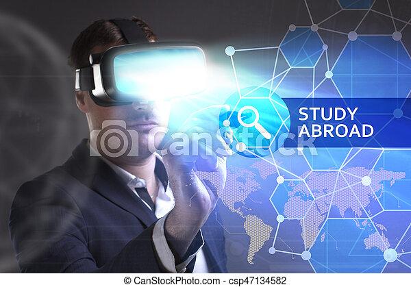 voit, réseau, fonctionnement, inscription:, concept., jeune, virtuel, business, homme affaires, internet, étude, technologie, réalité, à l'étranger, lunettes - csp47134582