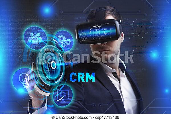 voit, réseau, fonctionnement, inscription:, concept., lunettes, jeune, virtuel, business, internet, homme affaires, technologie, réalité, crm - csp47713488