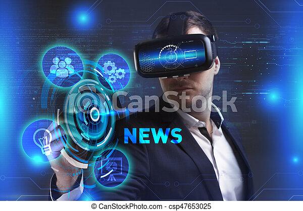 voit, réseau, fonctionnement, technologie, inscription:, concept., jeune, virtuel, business, internet, homme affaires, nouvelles, réalité, lunettes - csp47653025