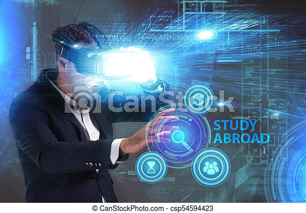 voit, réseau, fonctionnement, inscription:, concept., jeune, virtuel, business, homme affaires, internet, étude, technologie, réalité, à l'étranger, lunettes - csp54594423
