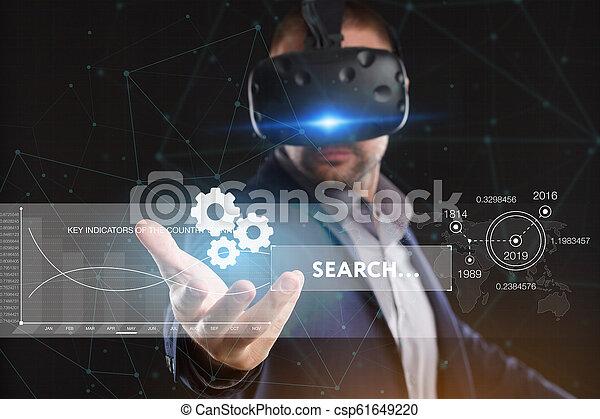 voit, réseau, fonctionnement, inscription:, concept., jeune, virtuel, business, internet, homme affaires, technologie, réalité, lunettes - csp61649220