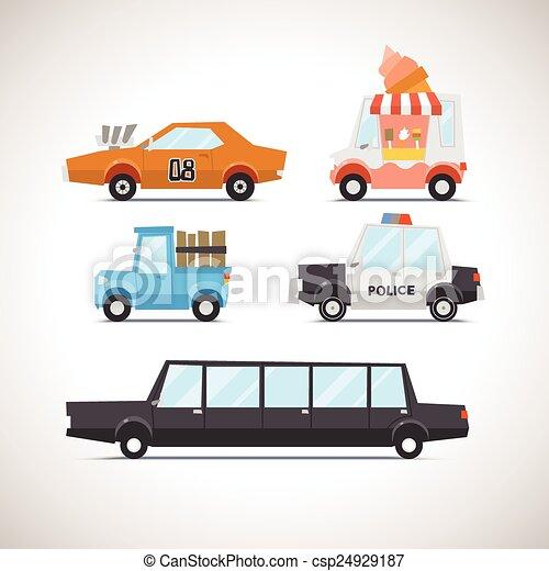 voiture, 2, ensemble, plat, icône - csp24929187