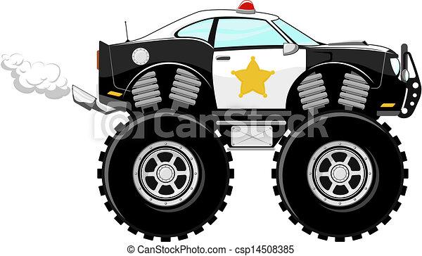 Voiture 4x4 Police Dessin Animé Monstertruck Surveiller Voiture