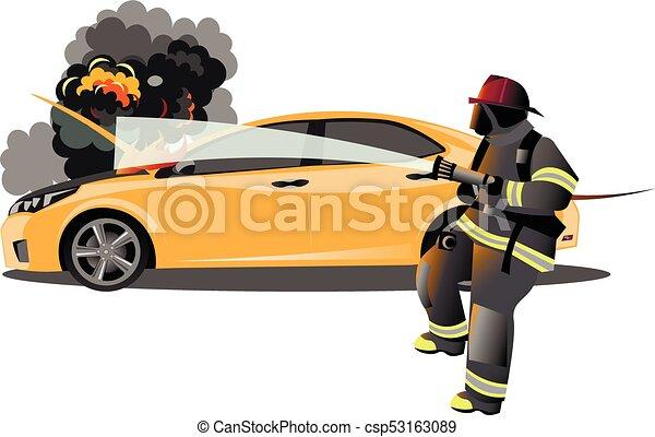 Voiture Accident Pompier Plat Accident Pompier Voiture