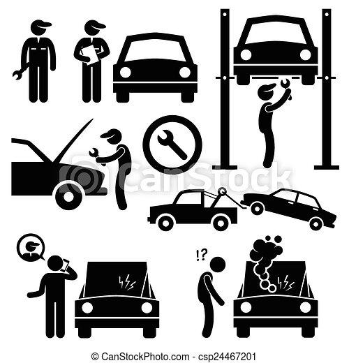voiture, atelier, mécanicien, réparation - csp24467201