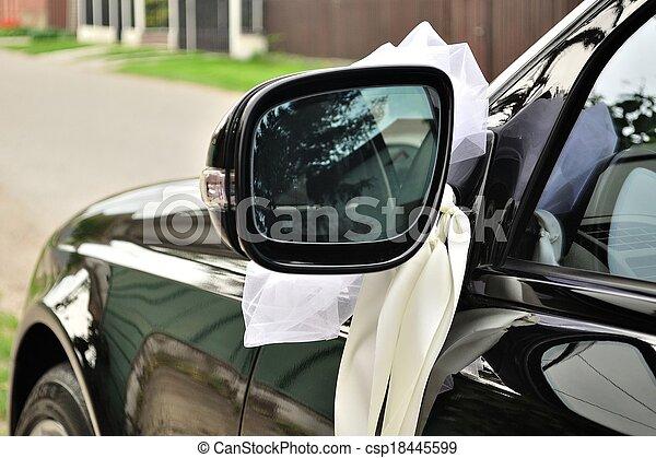 voiture, blanc, noir, ruban, mariage. miroir voiture, noir, mariage