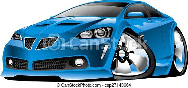 voiture bleue, moderne, dessin animé, muscle - csp27143664
