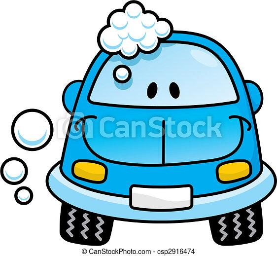 voiture bleue, vecteur, laver - csp2916474