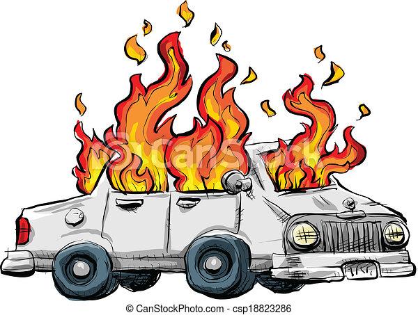 voiture, brûlé - csp18823286
