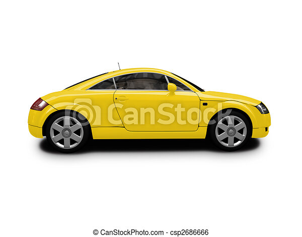 voiture c t isol jaune vue voiture blanc sport isol fond. Black Bedroom Furniture Sets. Home Design Ideas