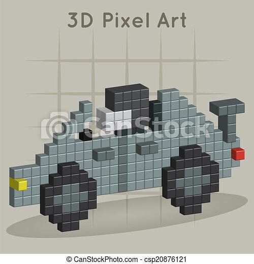 Voiture Course Art Pixel 3d