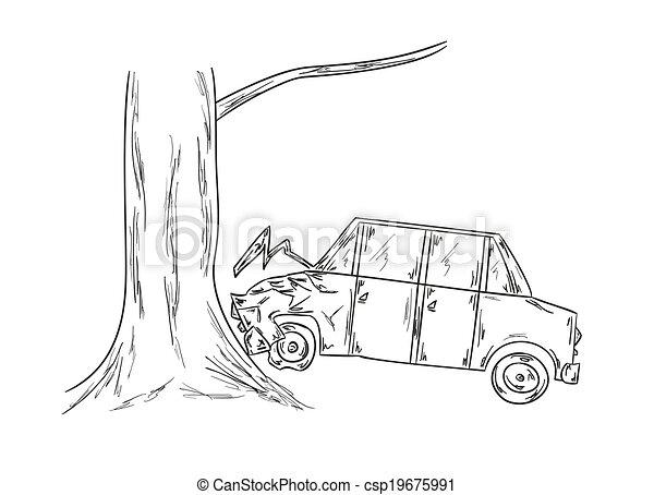 Voiture croquis accident arbre croquis accident voiture - Coloriage cars accident ...
