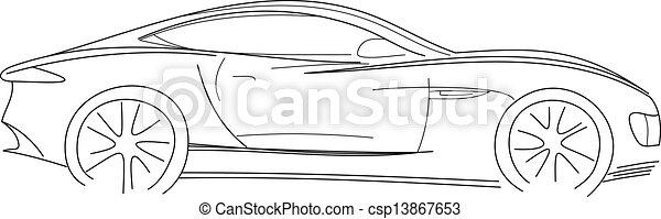 voiture, croquis, sport - csp13867653