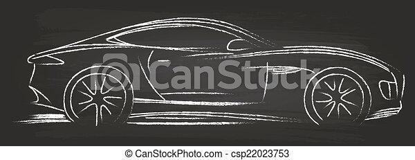 voiture, croquis, sports - csp22023753