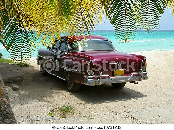 voiture, cuba, plage, paumes, classique - csp10731232