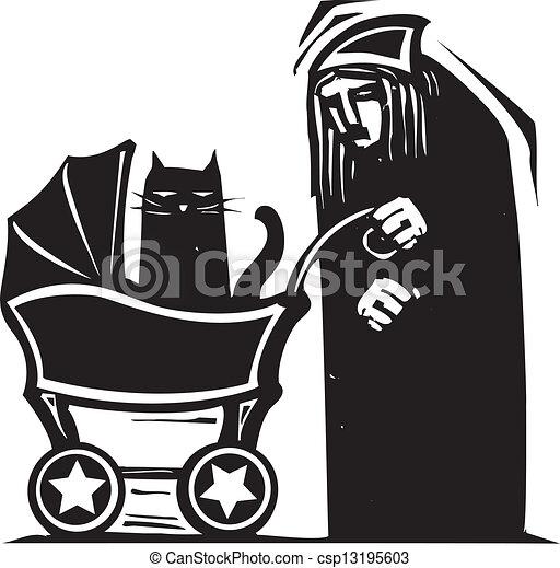 voiture d'enfant, dame, chat - csp13195603