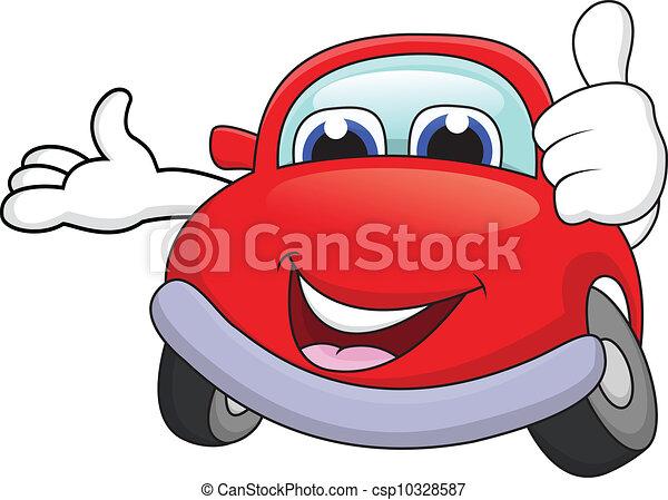 voiture, dessin animé, caractère, pouce haut - csp10328587