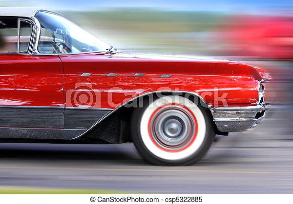 voiture, en mouvement, jeûne, rouges, classique - csp5322885