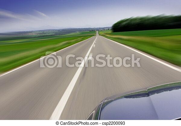 voiture, en mouvement, jeûne, route - csp2200093