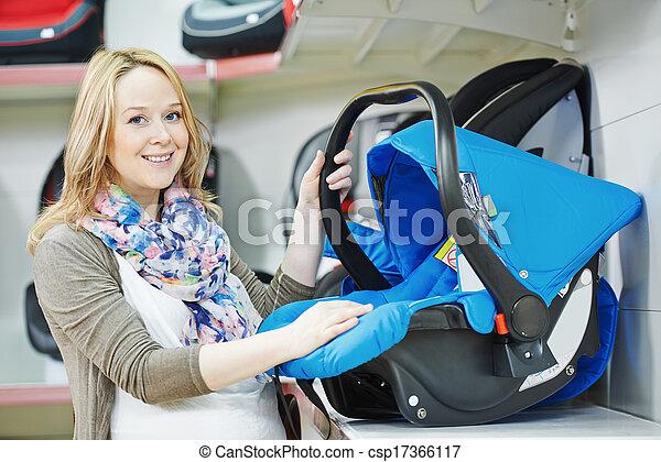 voiture, enfant, femme, choisir, siège - csp17366117