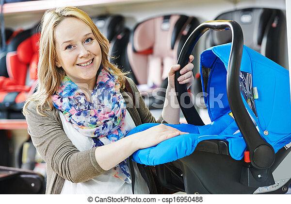 voiture, enfant, femme, choisir, siège - csp16950488