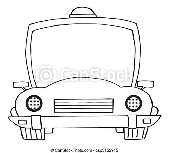 Voiture esquiss police dessin anim coloration police contour frontal voiture toit - Voiture police dessin anime ...