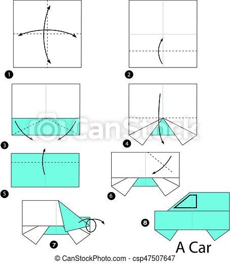 Voiture Faire Comment étape Origami Instructions