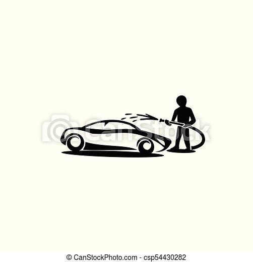voiture, illustration, laver, vecteur, logo, minimal - csp54430282