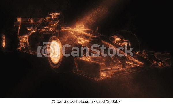voiture, -, illustration, une, fumée, orange, formule - csp37380567