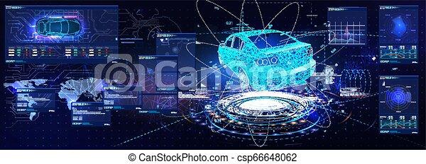 voiture, interface., ui., utilisateur, hud, futuriste - csp66648062