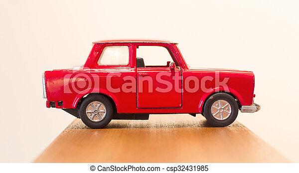 voiture, jouet, rouges - csp32431985