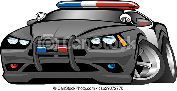 Voiture Muscle Police Dessin Anime Illustrat Police Cartoon