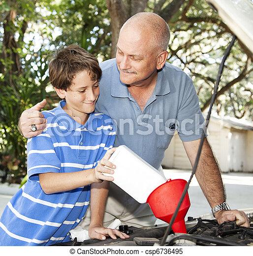 voiture, père, entretien, fils - csp6736495