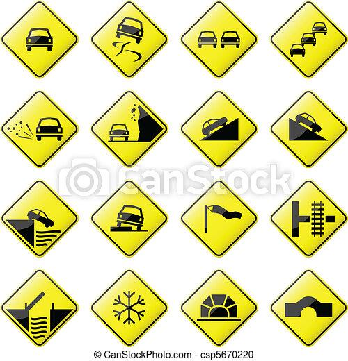 voiture, panneaux signalisations - csp5670220