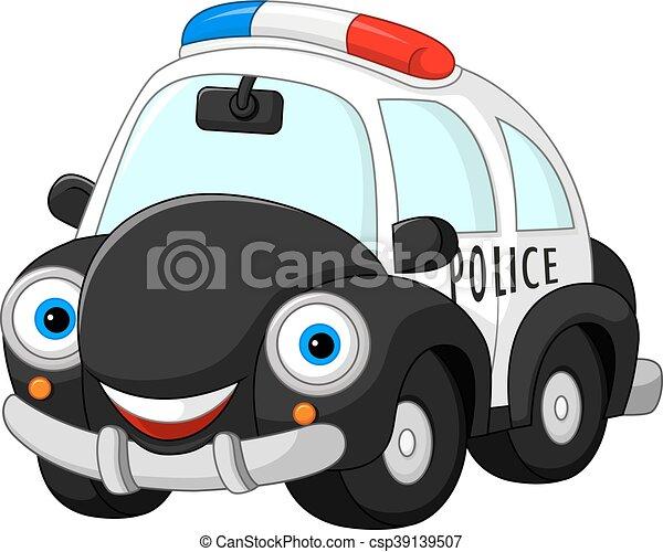 voiture, police, dessin animé, caractère - csp39139507