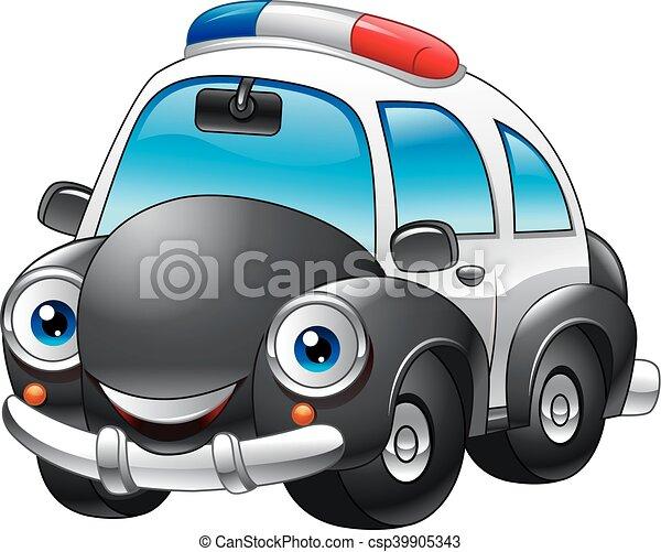 voiture, police, dessin animé, caractère - csp39905343