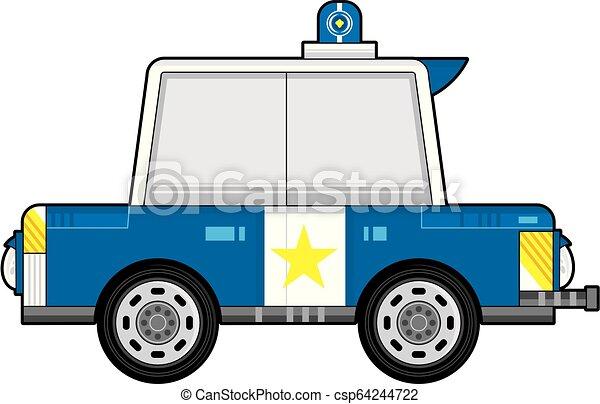 voiture, police, dessin animé - csp64244722