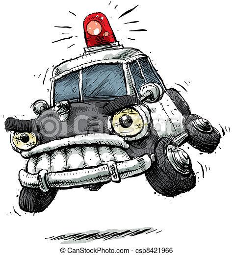 voiture, police, dessin animé - csp8421966