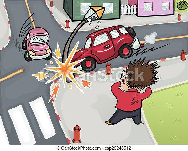 Voiture r verb re dessin anim ecras accident fracas voiture crossroads illustration - Accident de voiture dessin ...