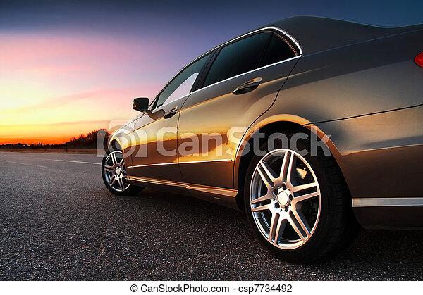voiture, rear-side, vue - csp7734492