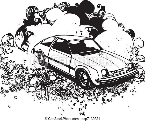 clip art vecteur de voiture retro hayon illustratation classic voiture csp7139331. Black Bedroom Furniture Sets. Home Design Ideas