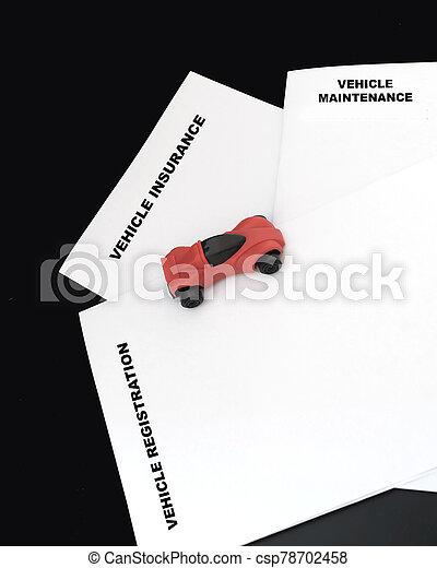 voiture, véhicule, moyenne, inclure, enregistrement, dépenses, réparation, assurance, courant - csp78702458