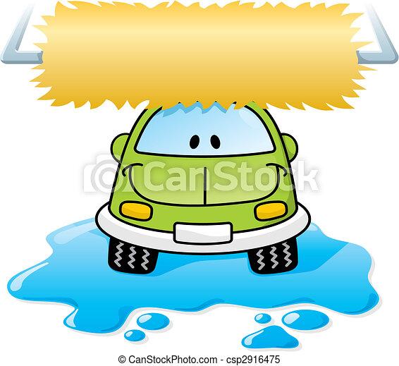 voiture, vecteur, vert, laver - csp2916475