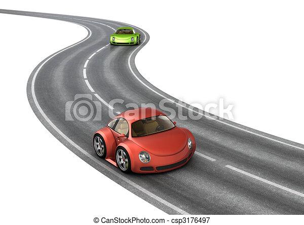 voitures, course, vert, route, rouges - csp3176497