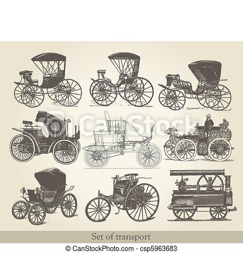 voitures, ensemble, vieux - csp5963683