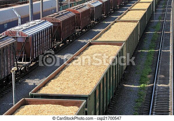 voitures, puce, bois, rail, chargé - csp21700547