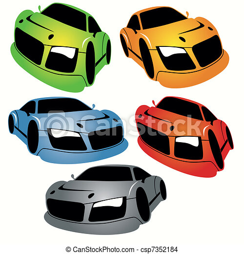 voitures style ensemble courses dessin anim csp7352184 - Voiture De Course Dessin Anim